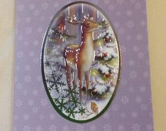 Best wishes - deer in snow Christmas card