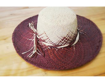 Sun Hat woven raffia, Brown and beige color