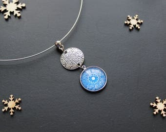 Chic, Flower necklace, blue, glass cabochon, short of neck