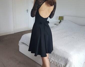 Black wrap circle skirt