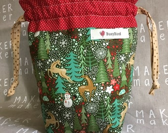 Deer and snowman project bag