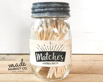 White Tip Colored Matches. Match Sticks Decorative Mason Jar. Farmhouse Rustic Home Decor Unique Gifts for her Best Seller Most Popular Item