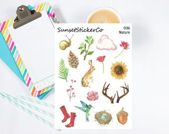 Nature Watercolor Clipart Stickers (D36)