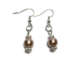 Champagne pearl drop earrings, gift for her, bridesmaid jewelry, teacher gift, bridesmaid gift, under 20, stocking stuffer, nickel free
