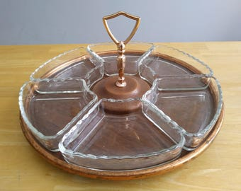 Vintage Rotating Serving Tray Party Platter Lazy Susan Style with 6 Glass Inserts Compartments