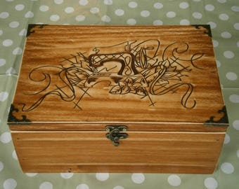 Hand carved wooden Sewing box