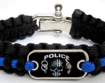 Police Lives Matter Thin Blue Line Cops Skull Paracord Survival Bracelet L/XL