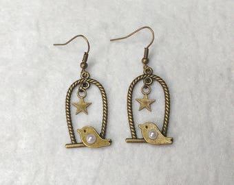 Bird on swing earrings