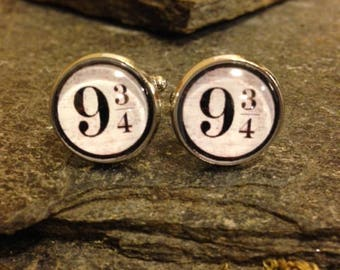 Platform 9 3/4 Cufflinks, Harry Potter Cufflinks, Tie Clips, Tie Bars, Pins, Tie Tacks, Cuff Links, Lapel Pin