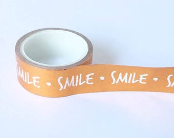 Copper washi tape with white writing smile dots // Decoration gift wrapping Masking Bullet Journal shiny letters bulletjournal bujo bronze
