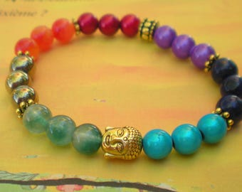 Yoga BRACELET with 7 colors of the CHAKRAS with Golden Buddha
