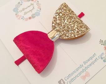 Red Velvet and Gold Glitter Hair Bow, baby hair bow, baby headband, girls hair clip,hair bow for girls,