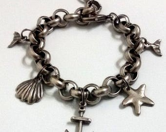 Anchor, Shell, Starfish, Tail, Chain bracelet, Sea bracelet, Anchor bracelet, Silver bracelet, Women bracelet, Gift for her, Gift idea