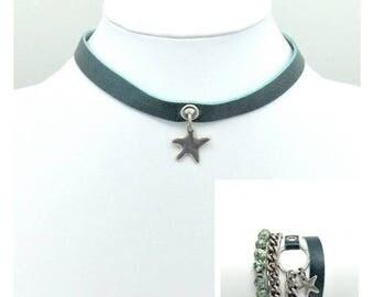 Green jewelry, Jewelry set, Star jewelry, Star choker, Star, Wrap bracelet, Choker, Jewelry, Set, Gift for her, Jewlery gift, Women jewlery
