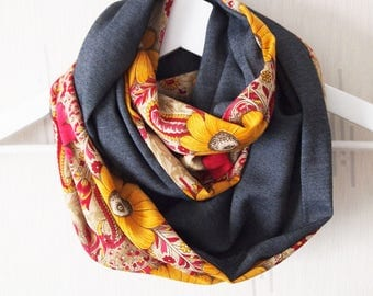Collar Snood double mid-season, flowers, sunflowers pattern yellow mustard and fuchsia