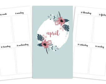 Personal April Weekly Printable Insert - TN/Ring Planner - Spring Blooms