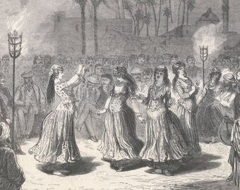 Egypt - Dance Of Almees, In Sihout, Egypt 1869 - Old Antique Vintage Engraving Art Print - Women, Dancers, Men, Crowd, Musicians