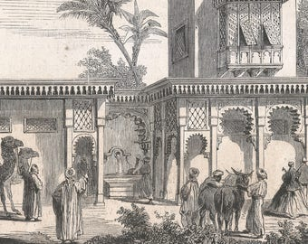The Park - Egyptian House and Stable Built the Meharis, Egypt 1867 - Old Antique Vintage Engraving Art Print - Men, Women, Child, Camels