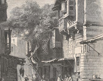 Cairo Street, Egypt 1855 - Old Antique Vintage Engraving Art Print - Street, Men, Children, Donkey, Sitting, Buildings, Oriel Windows