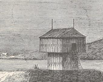 Algeria 1840, A Blockhaus, Old Antique Vintage Engraving Art Print, House, Wood, Ladder, Coast, River, Hill, Raised, Soldiers, Rifes