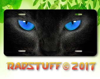 "Black Cat Panther Jaguar Blue Eyes Novelty Vanity Aluminum License Plate New 6x12"""