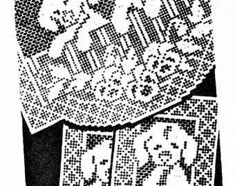 PDF Filet Crochet Puppys and Flowers  Chair Back Set with Arm Rests