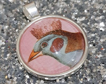 Glass Bird and Crown Pendant