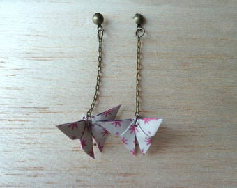 """origami """"beige and pink butterfly"""" earrings"""