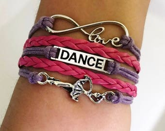 Dance bracelet, Dancer gift, Gift for Dancer, Dance Teacher gift, Coach jewelry, Dance Music jewelry, Dancing jewelry, Purple/Hot Pink