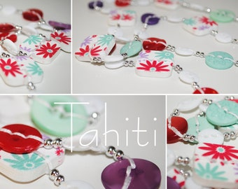 Tahiti - Long necklace made of buttons