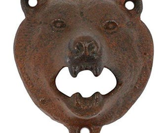 Rustic Brown Grizzly BEAR Cast-Iron Farmhouse Wall BOTTLE OPENER