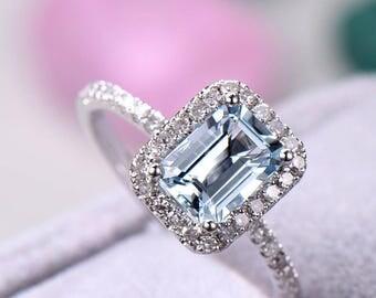 aquamarine engagement ring Emerald Cut sterling silver,manmade diamond white/rose/yellow gold plated,art deco morganite,amethyst,citrine..