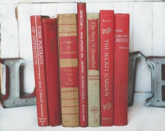 Vintage red books | Etsy