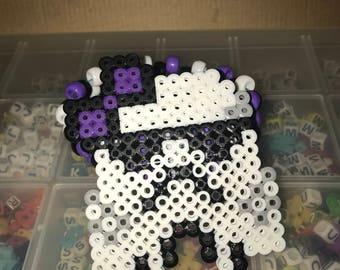 Storm Trooper with Purple Bow Perler Kandi Cuff