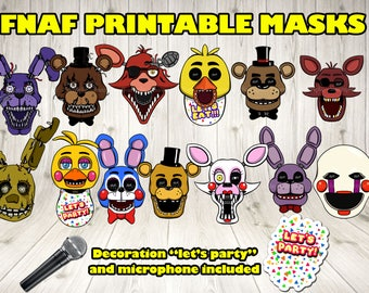 FNAF masks. FNAF photo booth. FNAF printable masks.Five Nights at Freddy's digital. Five Nights at Freddy's birthday. Fnaf costume