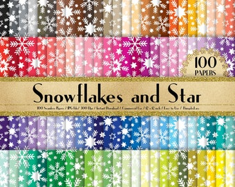 """100 Seamless Snowflakes and Stars Papers in 12"""", Snowflake, Star, Winter, Planner Paper, Commercial Use, Rainbow Paper, 100 Digital Paper"""
