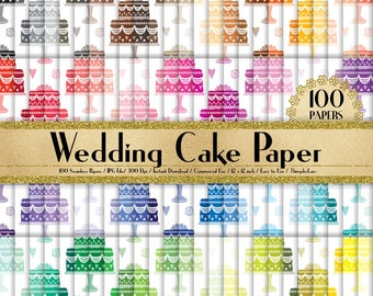 """100 Seamless Wedding Cake Papers in 12"""" x 12"""",300 Dpi Planner Paper,Commercial Use,Bridal Shower Papers,Rainbow Paper,Digital Wedding Paper"""