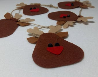 felt deer garland, personalized gift for friend  personalized gift for women