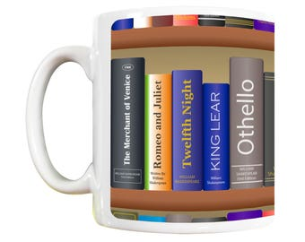 William Shakespeare Bookshelf Mug: shakespeare lovers, shakespeare gifts, book lover gift, shakespeare mug, book