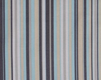 Blue and grey striped fabric by Michael Miller