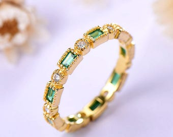 emerald wedding ring yellow gold baguette cut in 925 sterling silver with bezel man made cz - Emerald Wedding Ring