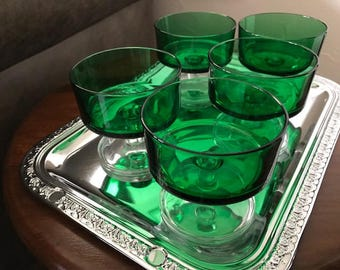 1970's Luminarc set of five green dessert glasses