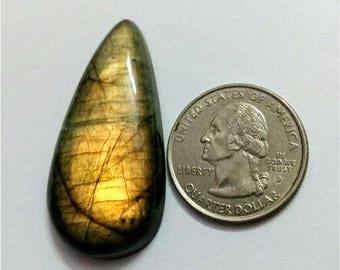 43.76 x 22.35 mm,Pear Shape/Tear Drop Labradorite Cobochon/ Gold Flash/wire wrap stone/Super Shiny/Pendant Cabochon/Semi Precious Gemstone
