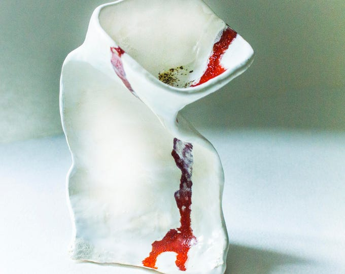 White Fine Art Candlestick Sculpture, Ceramic sculpture, Clay Sculpture, Unique Ceramic Figurine, Contemporary design