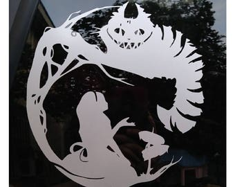 Alice In Wonderland with Cheshire Cat Decal
