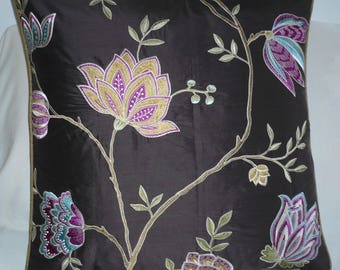 Chocolate background embroidered Silk Pillow cover
