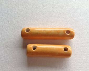 Ceramic tube beads handcrafted 2 holes