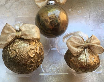 Set of Christmas Ornaments - Christmas Baubles- Christmas Decorations - Holiday Gift -  set of 3, each with his own box