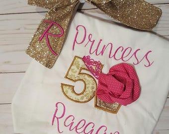 Cupcake Girl Birthday Outfit/Cake Birthday Glitter Embroidered Shirt/Princess Cake Birthday/Gold Pink Birthday/Princess theme birthday party