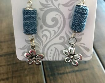 Recycle Denim Fabric Earrings With a Flower Charm